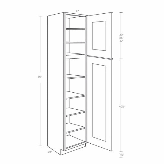 "18"" X 96"" X 24"" Luxor White Ready To Assemble 2 Doors And 7 Shelves Single Door Utility Cabinet"
