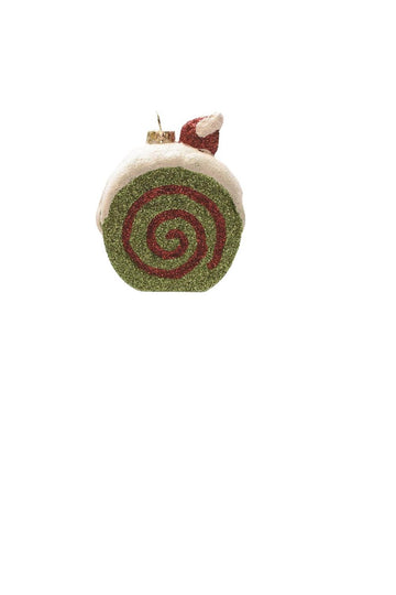 "3.25"" Merry & Bright Green  White And Red Glittered Shatterproof Cake Slice Christmas Ornament"