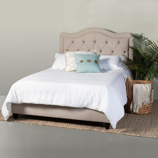 Allure Upholstered Bed w/ Side Rails and Footboard in Crawford Linen