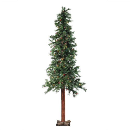 "7' x 40"" Pre-Lit Traditional Woodland Alpine Artificial Christmas Tree - Multi Lights Allstate Yta437-Gr"
