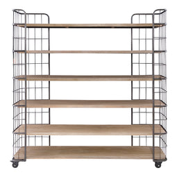 Industrial Circa Shelf With Roller Costers - Cabinet Shelves - Light Brown