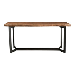 Modern Bent Counter Smoked Table With Wood Top - Rustic Long Pub Table - 28 Inch L