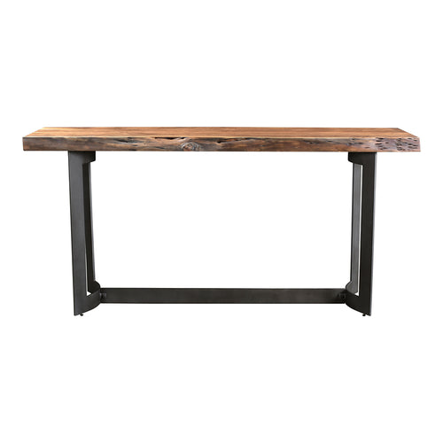 Rustic Smoke Bent Console Table In Brown - Industrial Farmhouse Accent Entryway Table