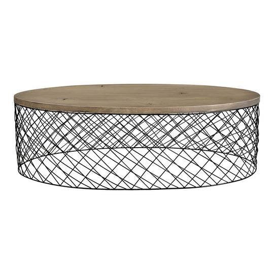 Contemporary Modern Celeste Coffee Table In Wooden Top - Round Coffee Table