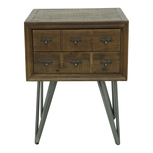 Javadi Side Table, Dark Brown, Industrial