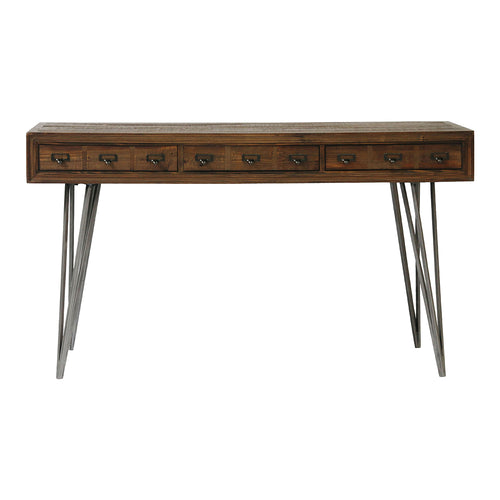 Javadi Desk, Industrial, Dark Brown