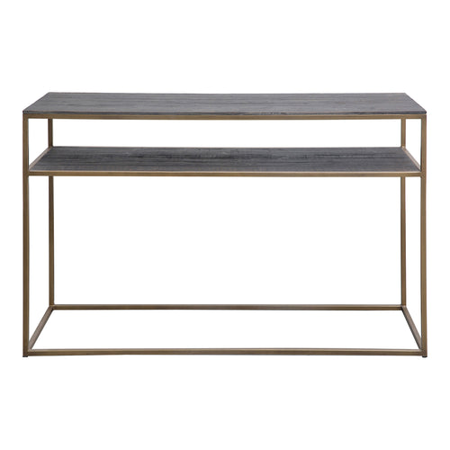 Hallway Entryway Studio Console Table With Storage Shelf In Brass - Entrance Console Table In Grey