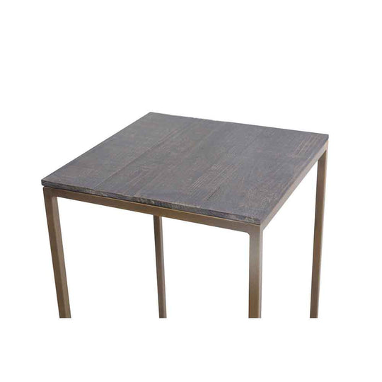 Industrial Studio Plant Tables  Fir Wood Top table Set Of Two In Brass - Bedroom End Tables