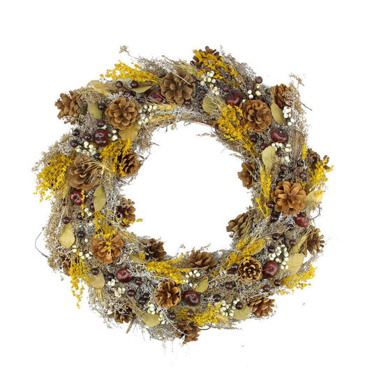 "20"" Natural and Yellow Pine Cone and Wheat Artificial Christmas Wreath - Unlit,"