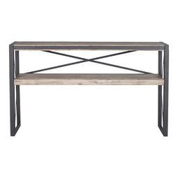 Solid Acacia Wood Bronx Console Table, Light Brown, Industrial Sofa Table With Storage Shelf