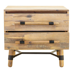 Modern Mid - Century Hudson 2 Drawer Nightstand - Bed End Tables In Wood Bedroom Dresser Drawers
