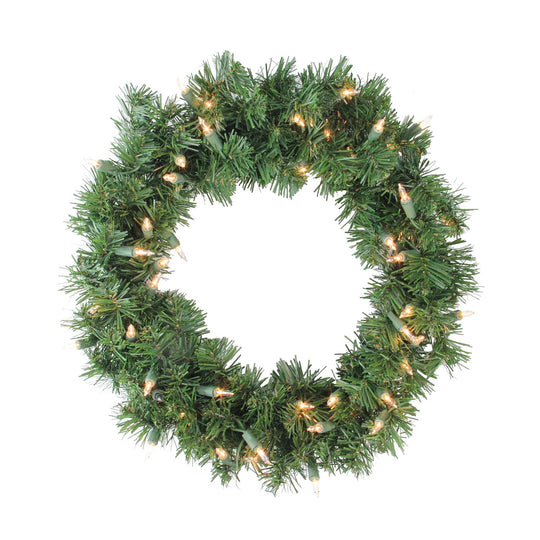 Deluxe Windsor Pine Artificial Christmas Wreath - 18-Inch  Clear Lights