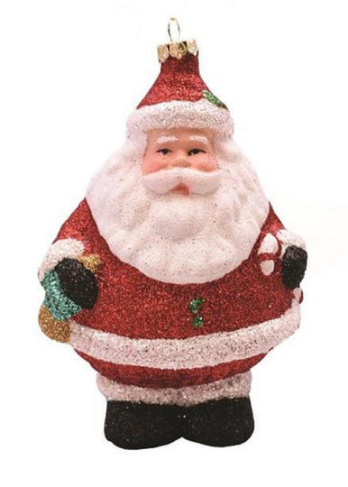 "5"" Merry & Bright Red  White And Black Glittered Shatterproof Santa Claus Christmas Ornament"