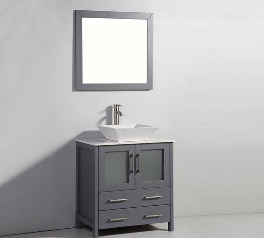 "30"" White Ceramic Solid Oak Wood  With Caramic Sink Bath Vanity With Mirror - White"