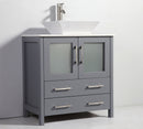 "Load image into Gallery viewer, 30"" White Ceramic Solid Oak Wood  With Caramic Sink Bath Vanity With Mirror - White"