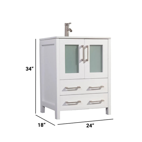 "24"" Integrated White Ceramic Solid Wood Sink Vanity With Mirror - Espresso"