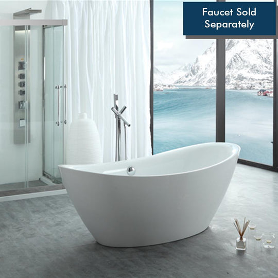 "71"" White Acrylic Tub 