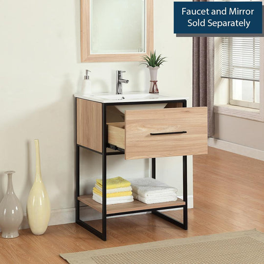 "24"" Maple Finish Sink Vanity With Black Metal Frame, Maple - WH7024-GB"