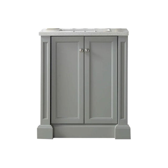 "30"" Sink Vanity With Quartz Top-Without Faucet Including One Drawer & Two Doors - Warm Gray"