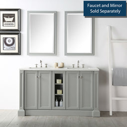60 Inches Willowhills Double Vanity With Rectangle Sink And Quartz Top-Sink Vanity With 3cm Thick Quartz Top-Without Faucet - Cool Gray