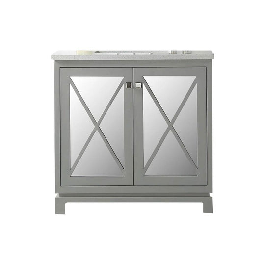 "36"" Sink Vanity With Quartz Top With Two Doors -Without Faucet - Warm Gray"