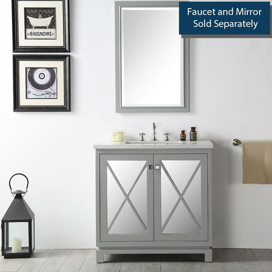 "36"" Sink Vanity With Quartz Cool Grey 