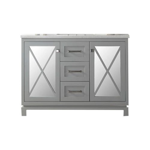 Farmhouse Sink Bathroom Vanity With 3cm Thick Quartz Top - Without Faucet - Cool Gray
