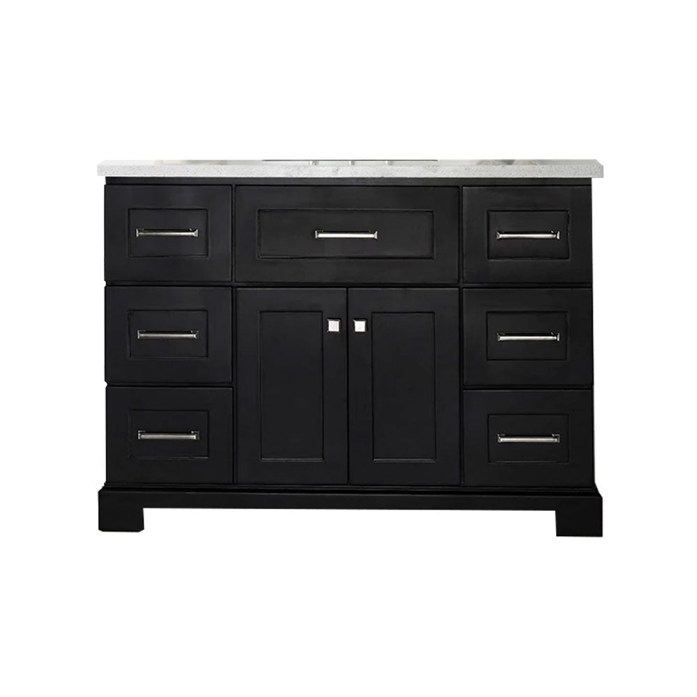 22x48x34.5 Inch - Sink Vanity With 3cm Quartz Top And 1 Shelf Without Faucet  - Espresso