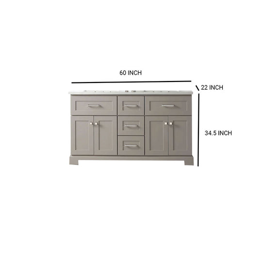"60"" Sink Vanity With Quartz Top-Without Faucet Including Two Shelves & Three Drawers-Warm Gray"