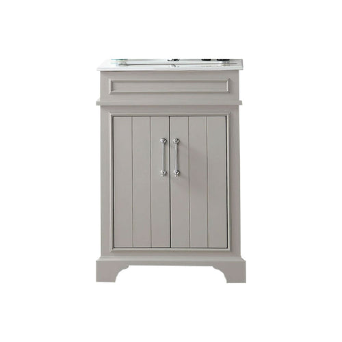 Two Door Sink Vanity With Ceramic Top-Without Faucet - Warm Gray, Espresso, Cool Gray, White In Color With Single Hole
