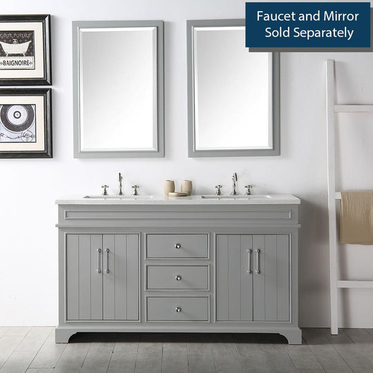 "60"" Sink Vanity With Quartz Top-Without Faucet Including Two Shelves & Four Doors - Warm Gray"