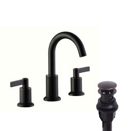 2 Handle Widespread Bathroom Faucet, Bronze Pop-up drain Included
