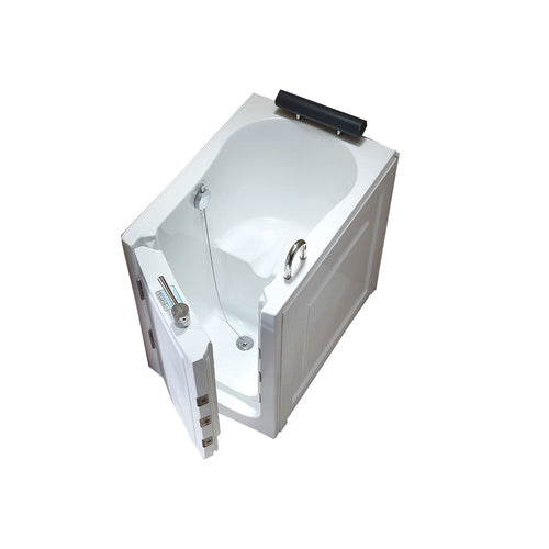 Modern Walk In Bathroom Bath Tub With Faucet With Center, Left Drainage - White Acrylic Bath Tub