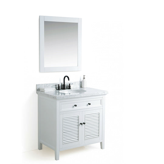 "36"" Cubic Under mount Oval Sink  Solid Wood  Vanity With Mirror And Faucet - Gray"