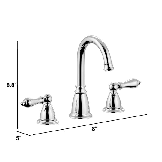 2 Handle Widespread Bathroom  Faucet in Brass Material, Bronze Chrome