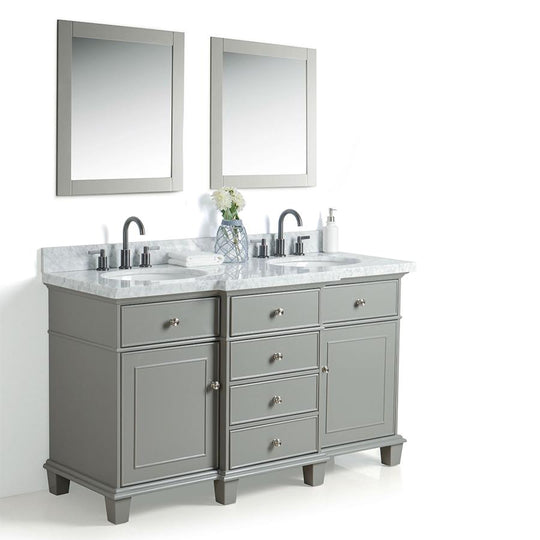 "60"" Solid Wood Sink Vanity With Mirror And Faucet Including Two Doors & Four Drawers - White"
