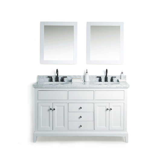 "60"" Solid Wood Sink Vanity With Mirror And Faucet Including Four Doors & Three Drawers - White"