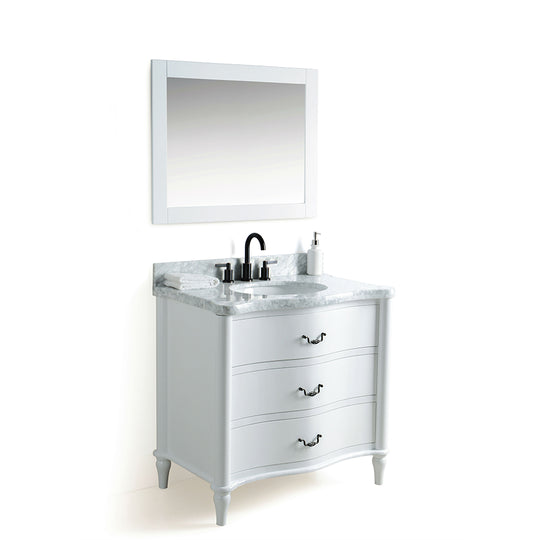 "36"" Solid Wood Sink Vanity Mirror With White Carrara Marble And Included Faucet - White"