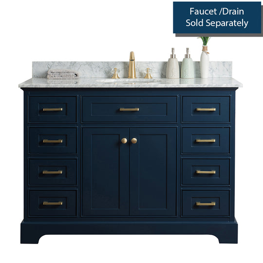 Solid Wood Single Oval Sink Vanity Without Faucet In Blue - 48 Inch With Carrara Marble Countertop
