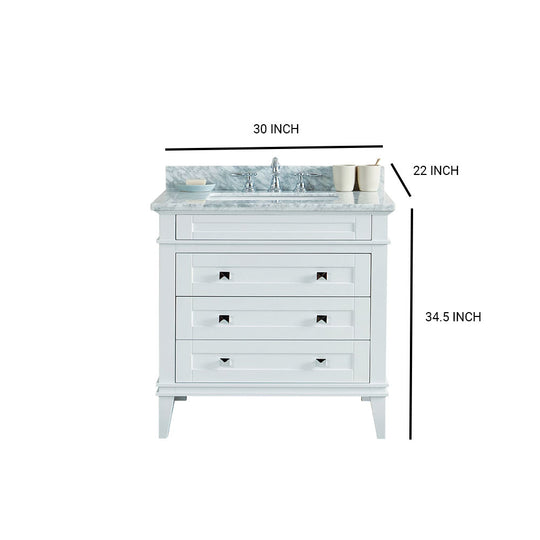 Solid Wood Sink Vanity Without Faucet In White - 36 inch Bathroom Vanity