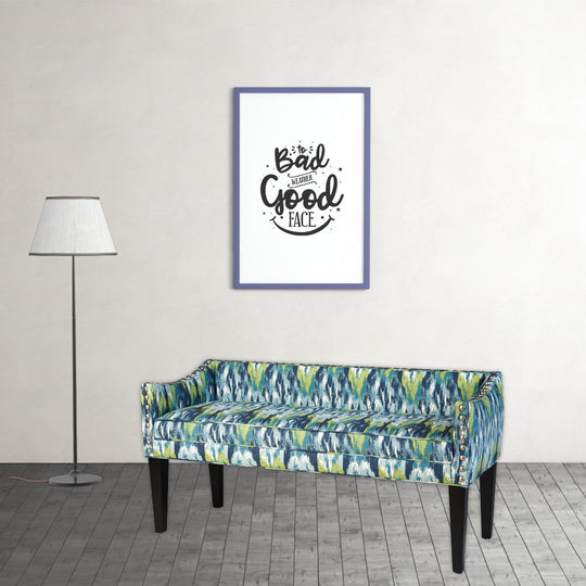 Upholstered Wooden Whitney Long Bench With Arms And Nailheads In Craz Blue
