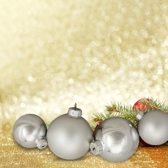 96ct Silver Shiny and Matte Christmas Glass Ball Ornaments 2.5-3.25""
