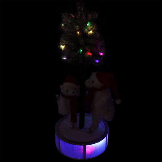 4' Animated and Musical Lighted LED Ice Skating Polar Bears with Flocked Tree Christmas Decor