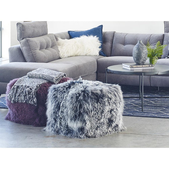 Home Living Lamb Fur Pouf Smoke Round Ottoman Coffee Table - Charcoal Gray