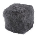Load image into Gallery viewer, Home Living Lamb Fur Pouf Smoke Round Ottoman Coffee Table - Charcoal Gray