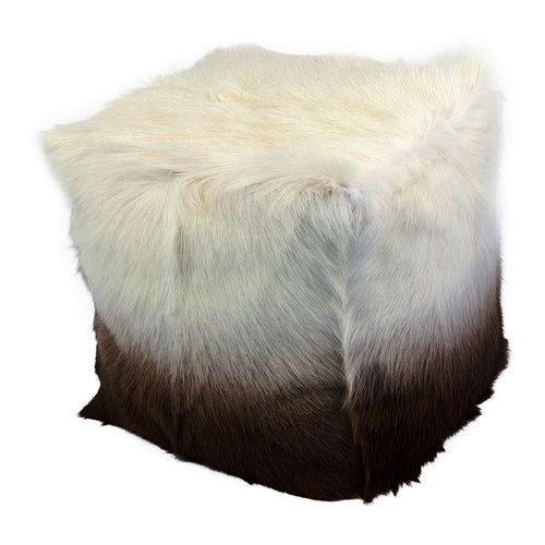 Super Soft Decorative Goat Fur Pouf With Polyester Lining - Cappuccino