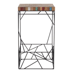 Rubic Square Bar Table With Iron Legs - Geometric Design Pub Table And Chairs