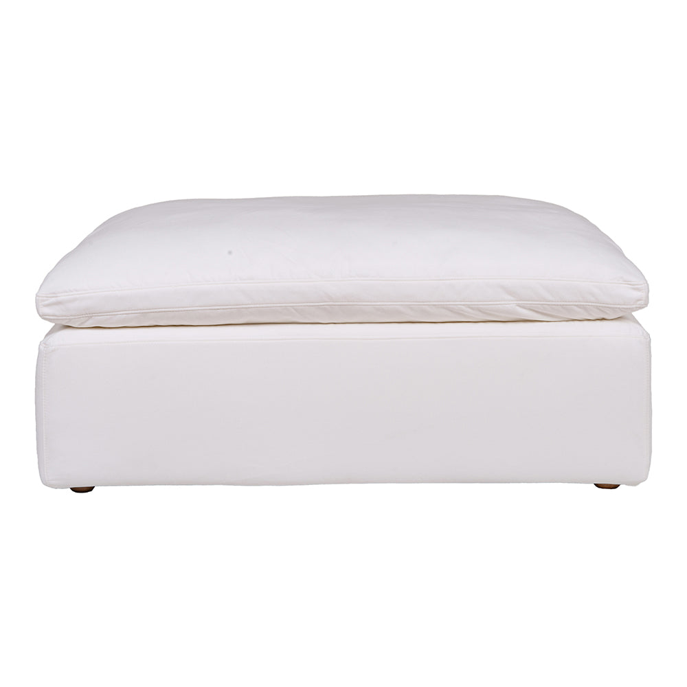 Clay Ottoman Livesmart Fabric, Contemporary Modern - Cream White
