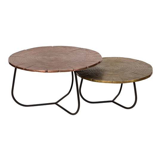 Contemporary Modern Cross Section Coffee Table Set Of Two - Cocktail Bar Table