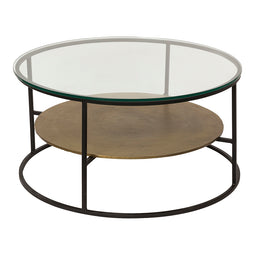 Contemporary Modern Callie Round Glass Top Coffee Table - Ottoman Coffee Table